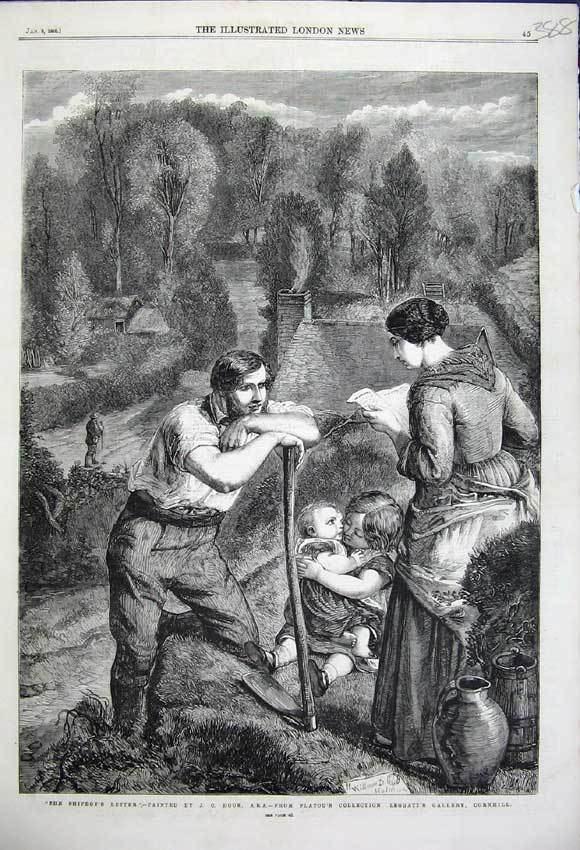 Print 1859 Ship Boys Letter Woman Reading Man Children Flatou 388N107 Old Original