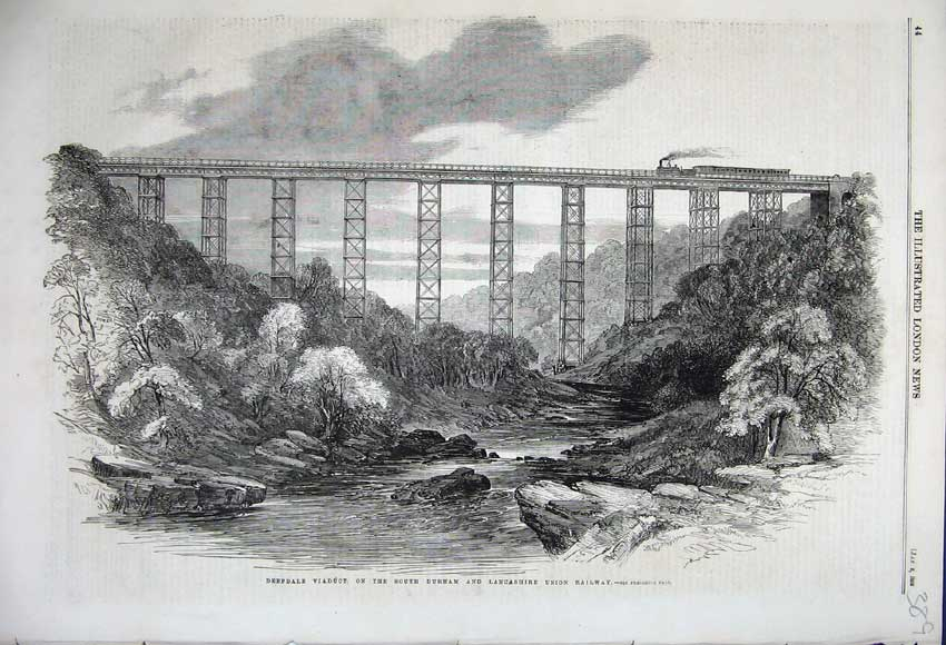 Print 1859 Deepdale Viaduct Durham Lancashire Railway Train 389N107 Old Original