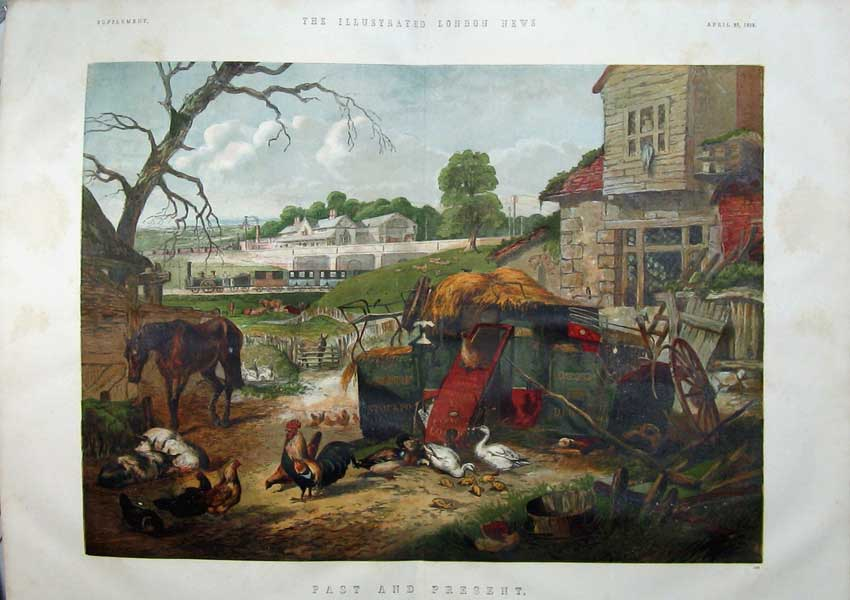 Print 1859 Colour Farm Train Chickens Horse Ducks Car 404Tn107 Old Original