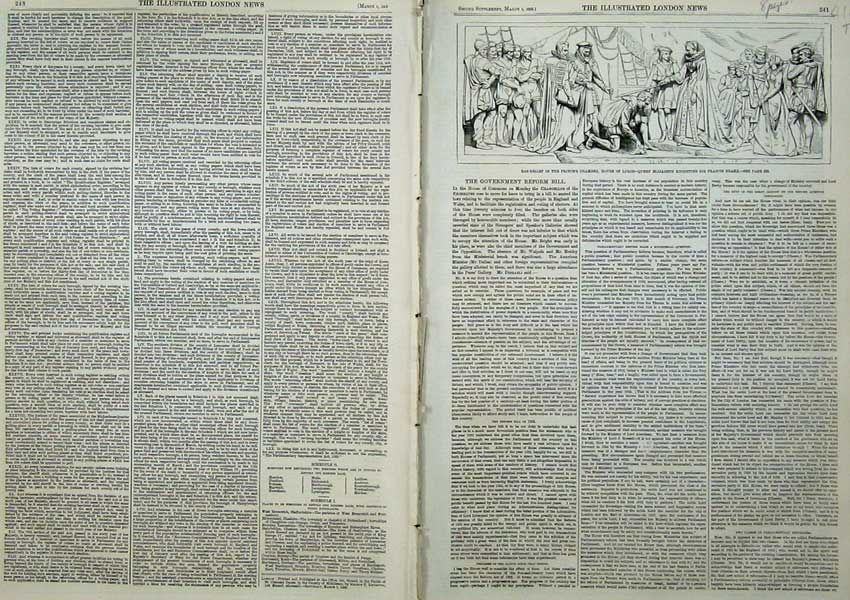 Print 1859 Government Reform Bill House Lords Francis Drake 412Tn107 Old Original