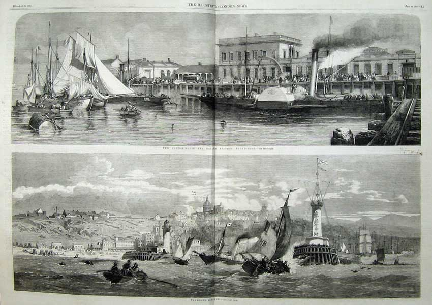 Print 1859 Boulogne Ships Custom House Railway Folkestone 421Tn107 Old Original