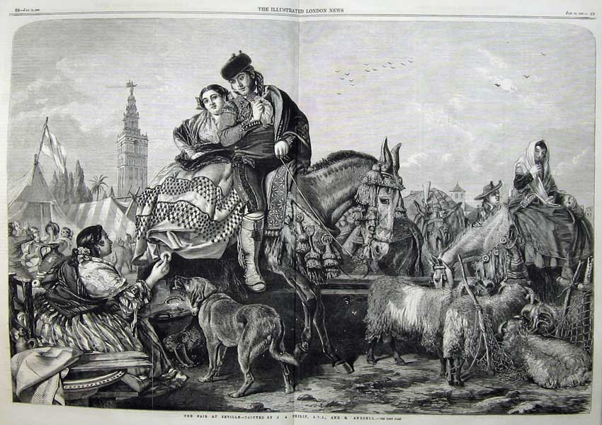 Print 1859 Fair Seville Man Woman Horse Sheep Dog Ansdell 422Tn107 Old Original