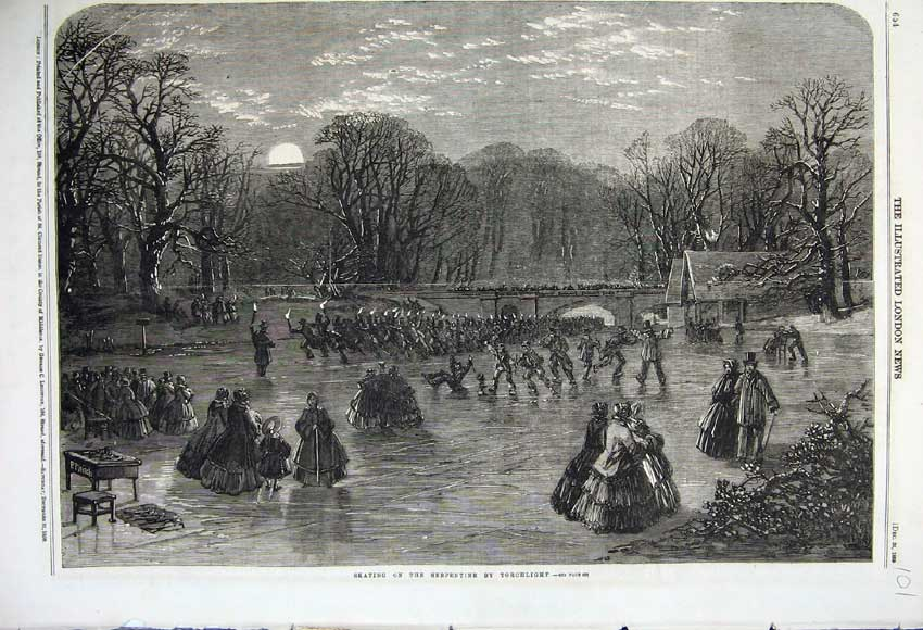 Print 1859 Scene Skating Serpentine Torchlight Moon Winter 101N108 Old Original