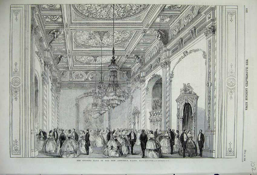 Print 1859 Opening Ball New Assembly Rooms Manchester Dance 102N108 Old Original