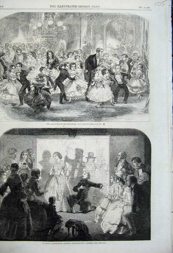 Print Christmas Amusements 1859 Mistltoe Charade Acting 105N108 Old Original