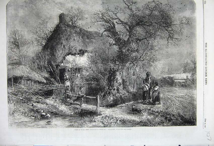 Print 1859 Christmas Cottage Country Trees Family Ducks Dog 107N108 Old Original