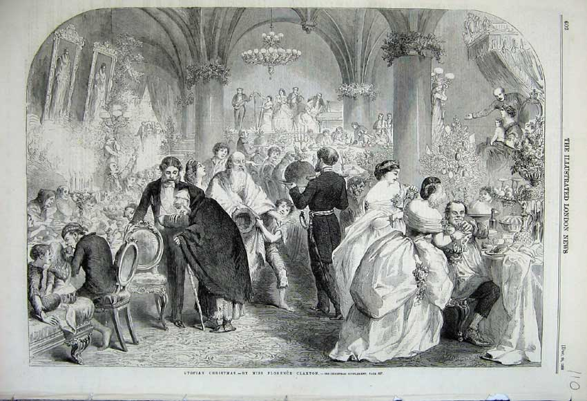 Print 1859 Utopian Christmas Party Banquet Costumes Claxton 110N108 Old Original