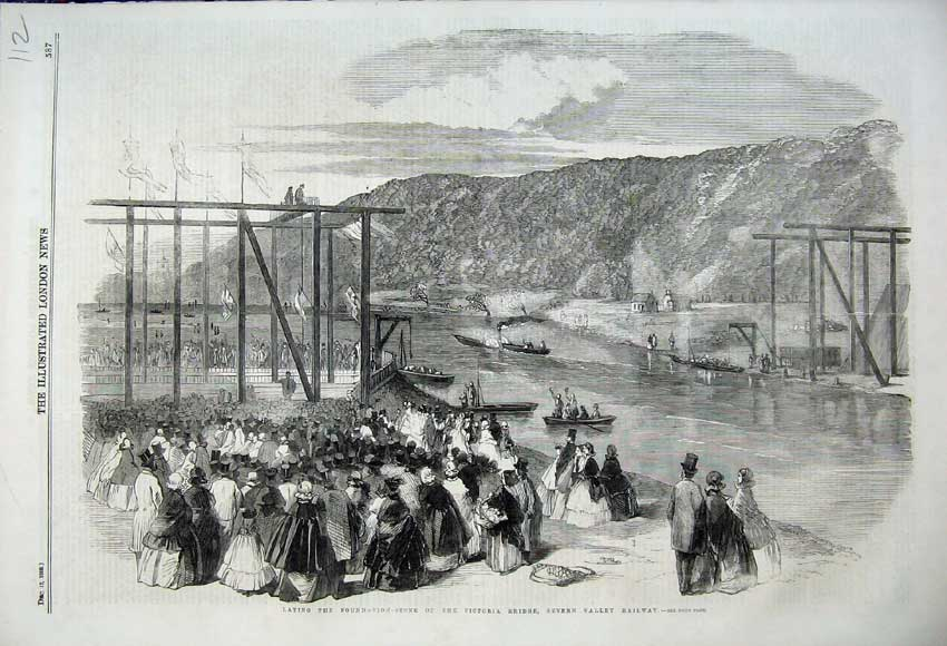 Print Laying Foundation 1859 Victoria Bridge Severn Railway 112N108 Old Original