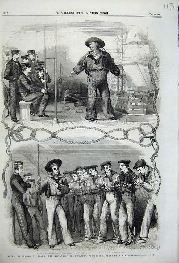 Print 1859 Naval Instruction Britannia Training Ship Sailors 113N108 Old Original
