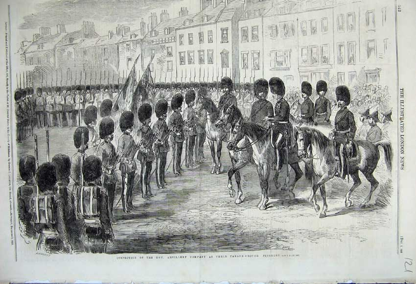 Print 1859 Inspection Artillery Company Parade Finsbury Army 121N108 Old Original