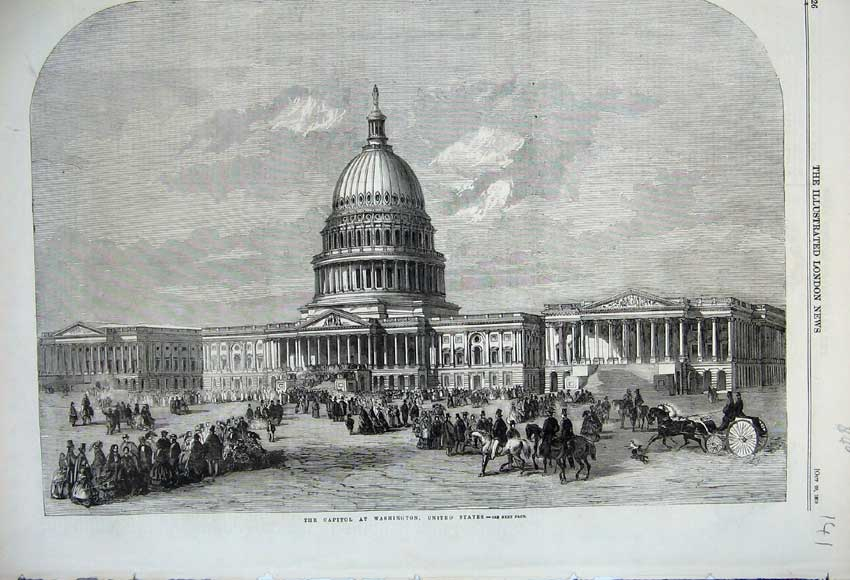Print 1859 Capitol Building Washinton United States America 141N108 Old Original