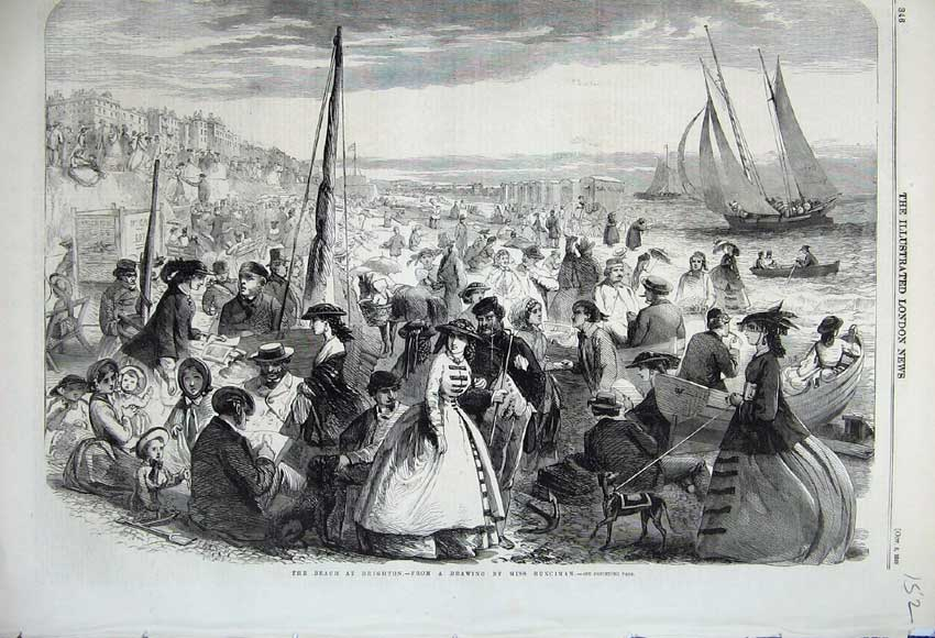 Print 1859 Beach Brighton People Sailing Yacht Ship Families 152N108 Old Original