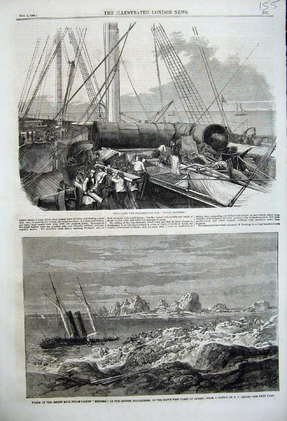 Print 1859 Great Eastern Ship Wreck Jersey Mail Steam Express 155N108 Old Original