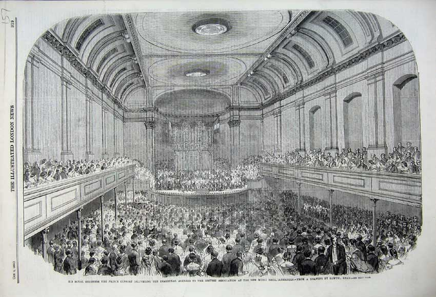 Print 1859 Prince Consort British Association Music Aberdeen 157N108 Old Original