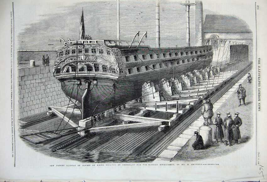 Print 1859 Slipway Cronstadt Russian Government Ship Grissell 165N108 Old Original