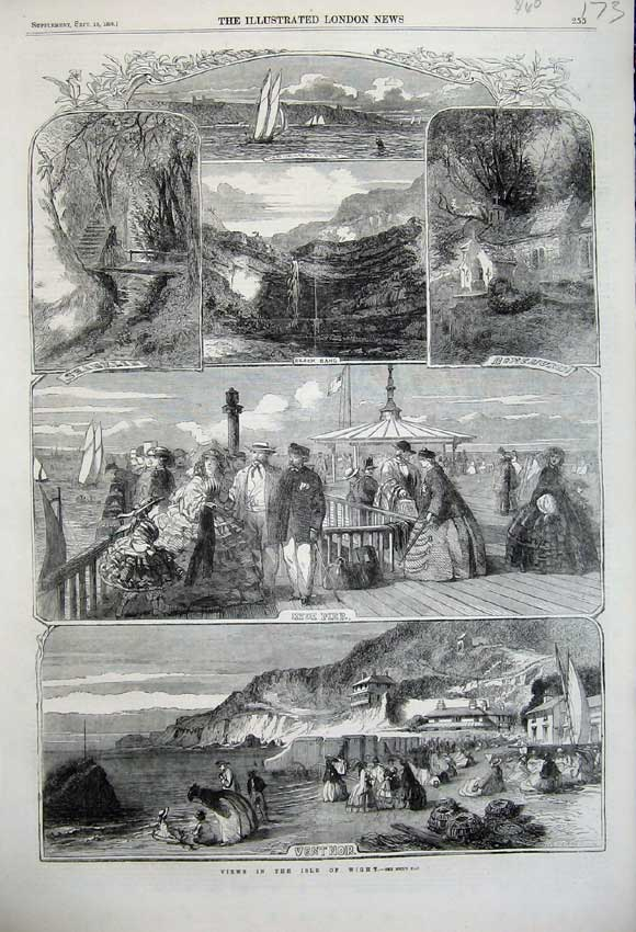 Print 1859 View Isle Wight Ryde Pier Ventnor Shanklin Yacht 173N108 Old Original