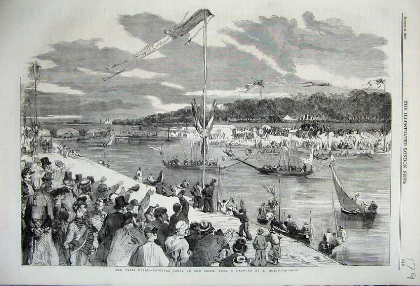 Print 1859 Paris Fetes Oriental Joust River Seine Boats Flag 179N108 Old Original