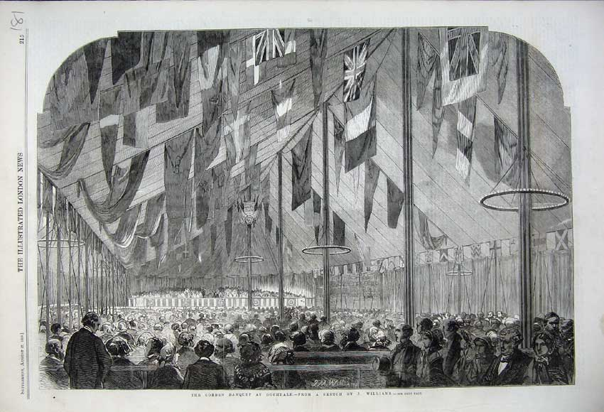 Print 1859 Cobden Banquet Rochdale Tent Flags People Williams 181N108 Old Original