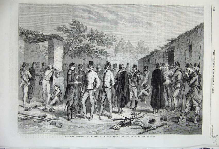 Print 1859 Austrian Prisoners Farm Medolo Soldiers Beauce 185N108 Old Original