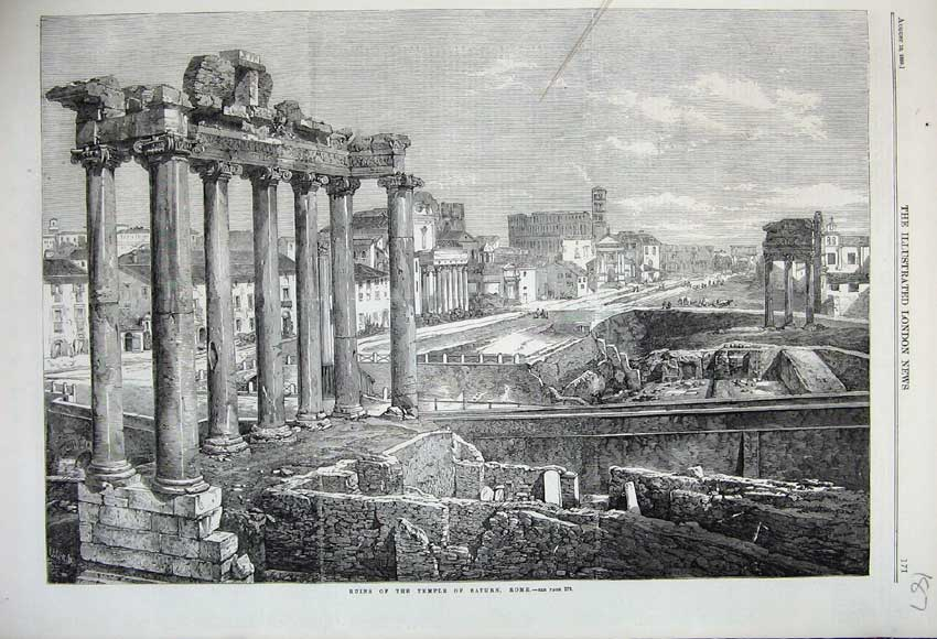 Print 1859 Ruins Temple Saturn Rome Buildings Architecture 187N108 Old Original
