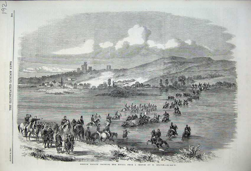 Print 1859 French Troops Crossing River Mincio Mountains 192N108 Old Original