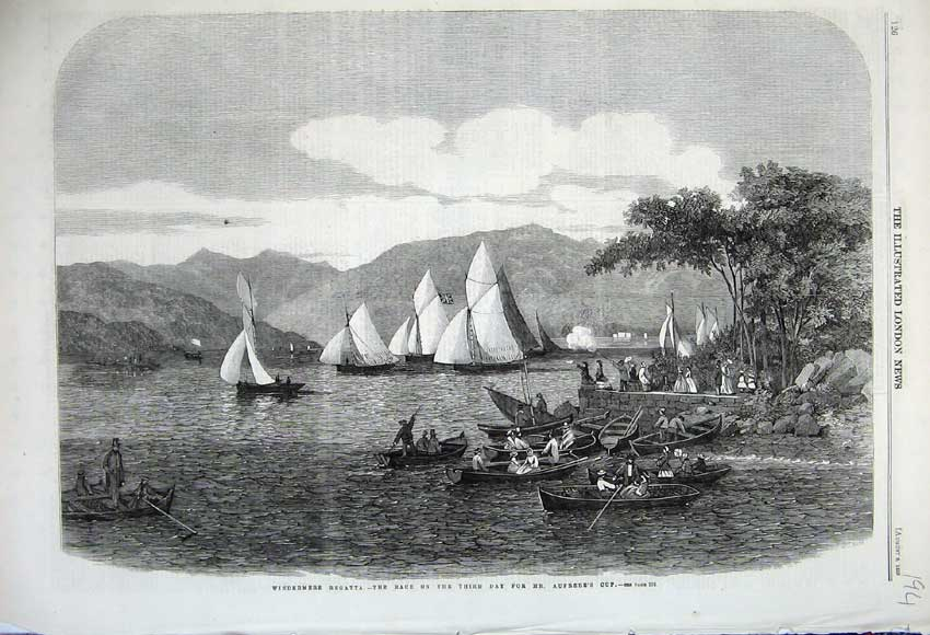 Print 1859 Windermere Regatta Yacht Race Aufrer'S Cup Lake 194N108 Old Original