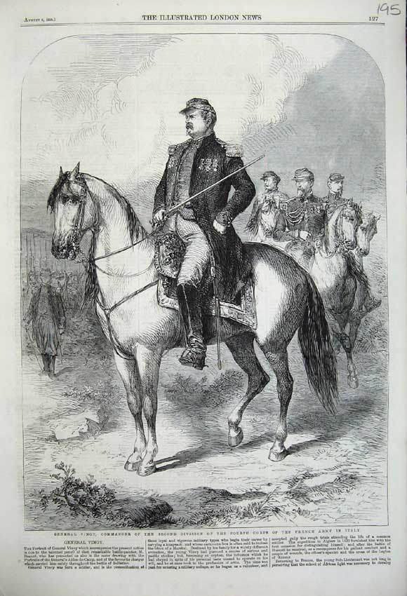 Print 1859 General Vinoy Commander French Army Italy War 195N108 Old Original