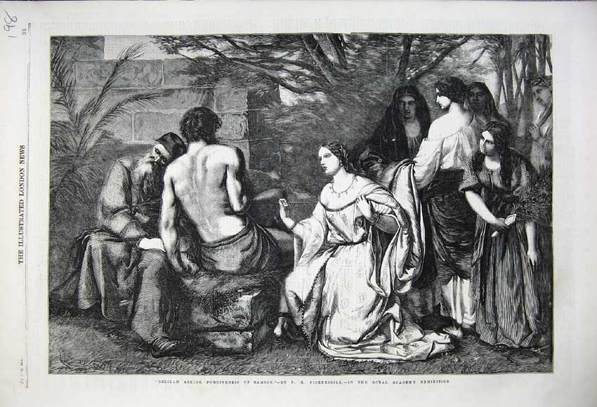 Print Delilah Asking Frogiveness Samson 1859 Bible Pickersgil 198N108 Old Original