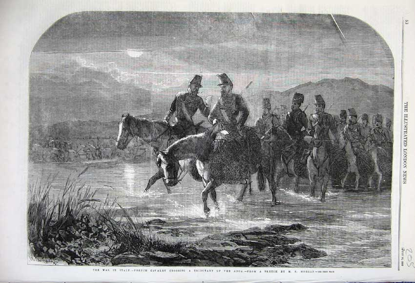 Print 1859 War Italy French Cavlary Horse Tributary Adda Army 205N108 Old Original