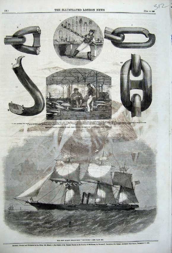 Print 1859 New Screw Steam Ship Thunder Test-House Dockyard 312N108 Old Original
