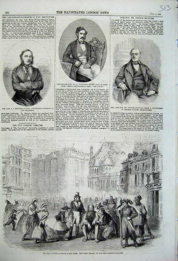 Print Bastille Dead Heart Theatre 1859 Crowder Grey Manners 313N108 Old Original