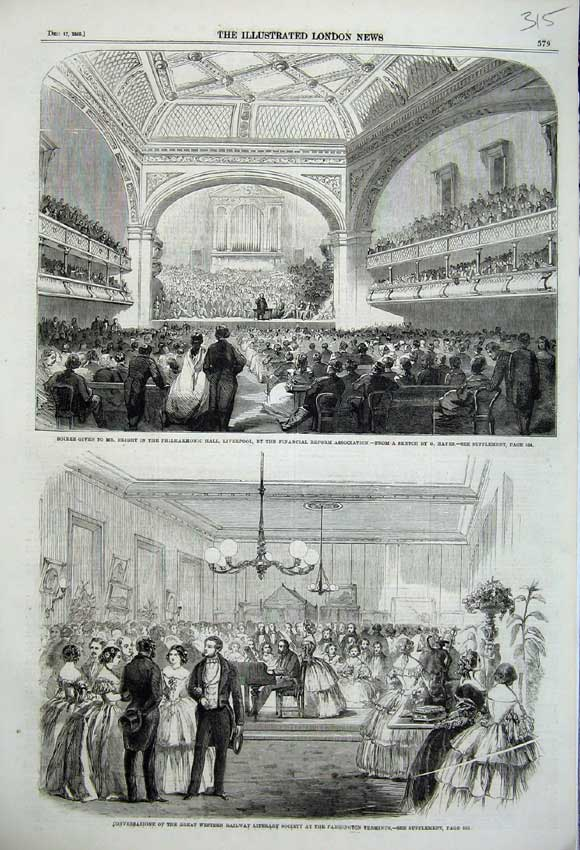 Print 1859 Philharmonic Hall Liverpool Paddington Terminus 315N108 Old Original