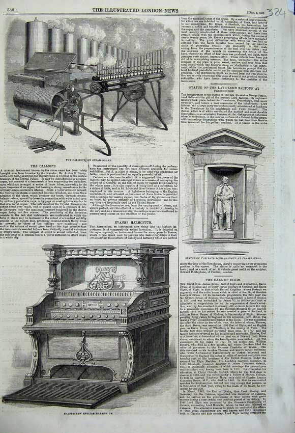 Print 1859 Evans Harmonium Statue Saltoun Steam Organ Music 324N108 Old Original