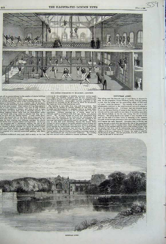Print Oxford Gymnasium 1859 Newstead Abbey Church Lake 339N108 Old Original