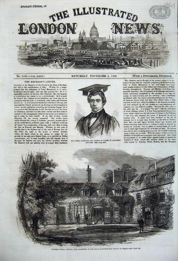 Print 1859 Frewen'S Hall Oxford Prince Wales Academic Costume 341N108 Old Original