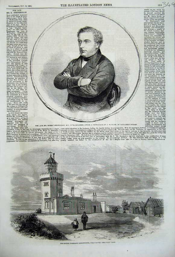 Print 1859 Portrait Robert Stephenson Foreland Lighthouse 349N108 Old Original