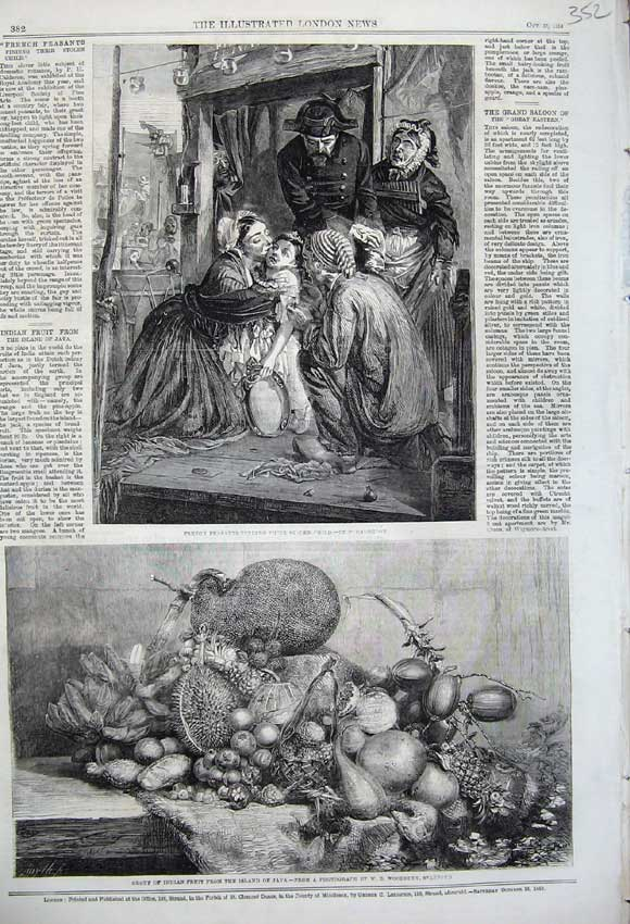 Print 1859 Indian Fruit Island Java French Peasants Child 352N108 Old Original