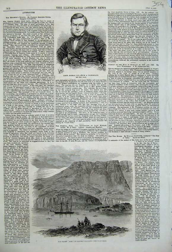 Print 1859 Yacht Fox Lievely Harbour Portrait Hobson Army War 354N108 Old Original