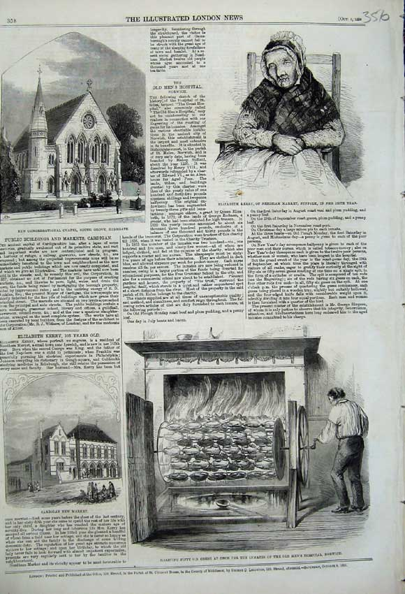 Print 1859 Cardigan New Market Elizabeth Kerry Chapel Geese 356N108 Old Original