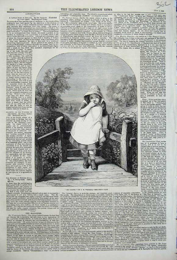 Print 1859 Little Girl Children Wooden Bridge Trees Country 362N108 Old Original