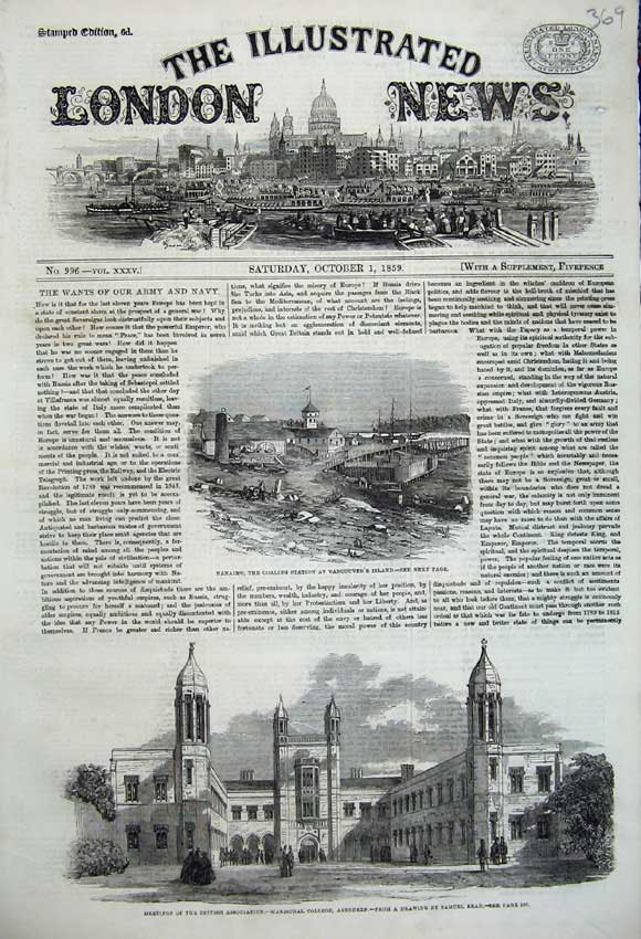 Print 1859 Nanaimo Coaling Station Vancouver College Aberdeen 369N108 Old Original