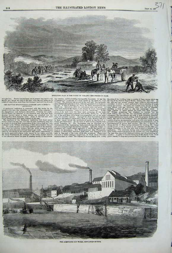 Print 1859 Spreading Flax Ireland Armstrong Gun Newcastle 371N108 Old Original