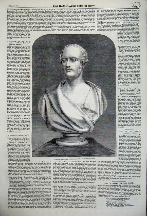 Print 1859 Royal Bust Prince Consort Mathew Noble Statue 373N108 Old Original