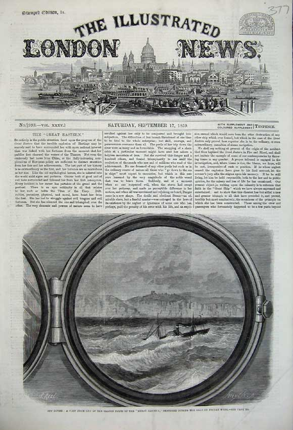 Print 1859 Dover Saloon Port Great Eastern Steam Ship Sea 377N108 Old Original