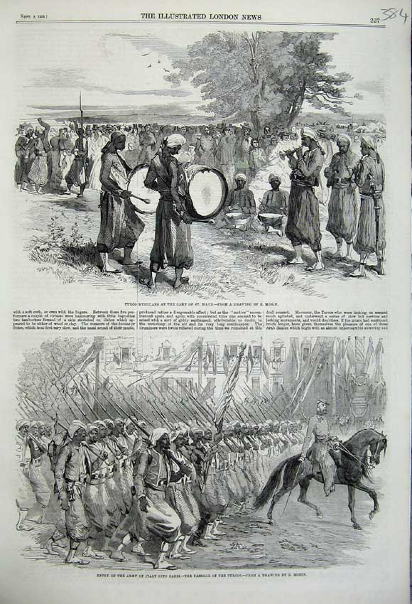Print 1859 Turco Musicians Camp Maur Army Italy Soldiers War 384N108 Old Original