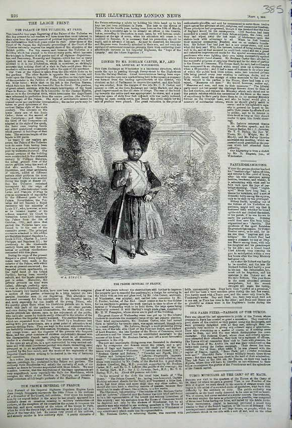 Print 1859 Portrait Prince Imperial France Uniform Young Boy 385N108 Old Original