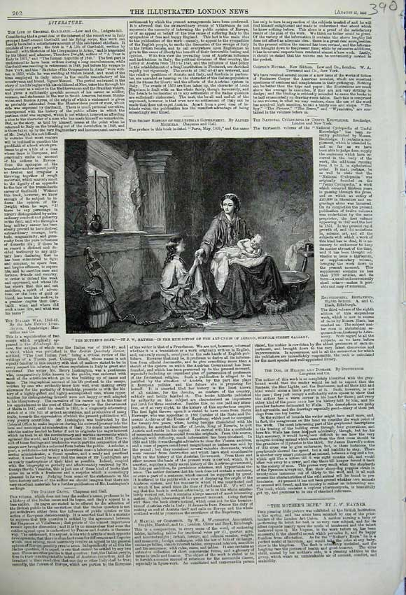 Print 1859 Mother'S Hope Haynes Baby Children House Art 390N108 Old Original