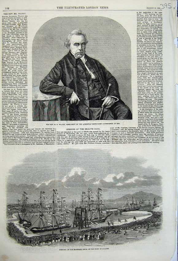 Print 1859 Rev Waddy Methodist Church Marshall Dock Silloth 395N108 Old Original