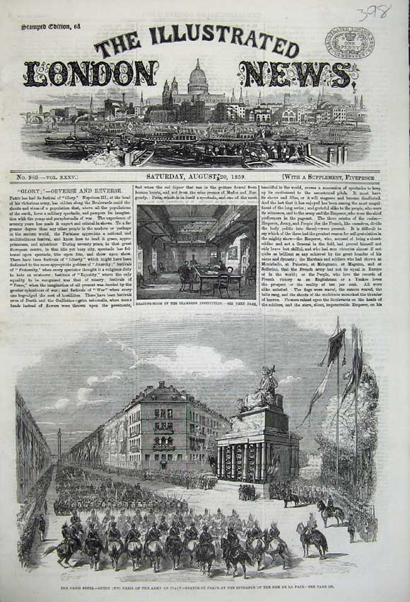 Print 1859 Paris Army Italy Statue Peace Chambers Institution 398N108 Old Original