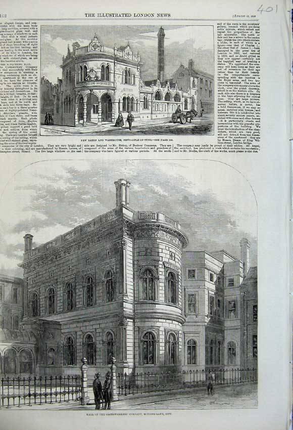 Print 1859 Clothworker'S Company Baths Washhouse Newcastle 401N108 Old Original